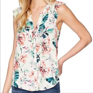 👙Sanctuary ruffle craft shell sleeveless blouse